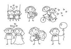 Uomini di amore e donne grafici, vettore Fotografia Stock Libera da Diritti