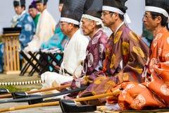 Uomini di Kyudo messi Fotografia Stock