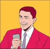 Uomini di sorriso con il telefono Immagine Stock Libera da Diritti