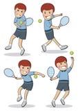 Uomini di tennis messi caratteri piani svegli di vettore Illustrazione Vettoriale