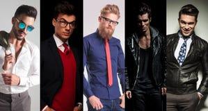 5 uomini differenti che posano nello studio Fotografia Stock Libera da Diritti