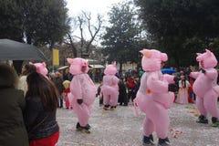 Uomini divertenti che portano il costume del maiale al carnevale di Verona Fotografie Stock Libere da Diritti