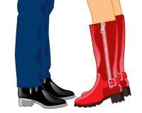 Uomini e donna delle gambe Immagine Stock
