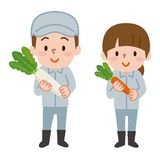 Uomini e donne che tengono le verdure illustrazione di stock