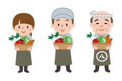Uomini e donne con i canestri che contengono le verdure royalty illustrazione gratis