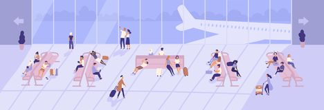 Uomini e donne dentro il terminal dell'aeroporto con le grandi finestre e gli aeroplani panoramici visti attraverso loro passegge illustrazione di stock