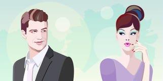 Uomini e donne grafici astratti di riunione dell'illustrazione Immagini Stock Libere da Diritti