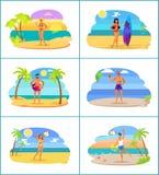 Uomini e donne in Swimwear alle spiagge tropicali messe illustrazione vettoriale