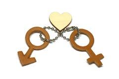 Uomini e femmina con il simbolo astratto di amore fatto di cuoio isolato su fondo bianco Immagini Stock Libere da Diritti