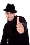 Uomini felici con il cappello ed i pollici in su Fotografia Stock Libera da Diritti
