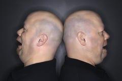 Uomini gemellare calvi di nuovo alla parte posteriore. Fotografie Stock Libere da Diritti