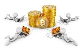 Uomini intorno a Bitcoins Fotografia Stock