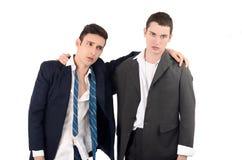 Uomini licenziati, ribaltamento di affari. Fotografia Stock