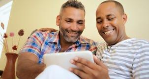 Uomini omosessuali della gente delle coppie gay felici che per mezzo del computer Immagine Stock