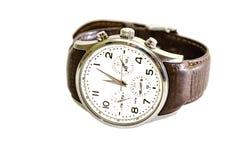 Uomini, orologi con la cinghia marrone, isolata su fondo bianco Primo piano fotografia stock