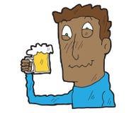 Uomini potabili fumetto con il vetro di birra Immagini Stock Libere da Diritti