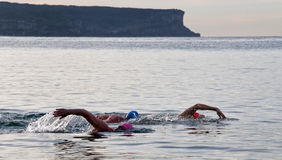 3 uomini prendono una nuotata dell'oceano Fotografia Stock Libera da Diritti