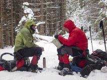 Uomini in racchette da neve che guardano mappa nella foresta di inverno Fotografie Stock Libere da Diritti