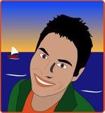 Uomini in spiaggia Fotografia Stock