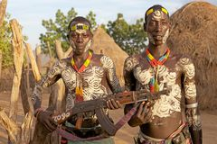 Uomini tribali africani Fotografie Stock