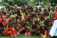 Uomini tribali del villaggio del Vanuatu Fotografia Stock