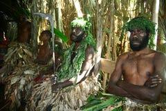Uomini tribali del villaggio della Vanuatu Fotografia Stock