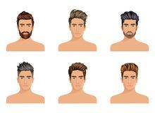 Uomini usati per creare lo stile di capelli della barba del carattere, modo degli uomini dei baffi Immagine Stock Libera da Diritti