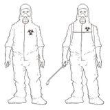 Uomini in vestito protettivo illustrazione vettoriale
