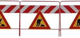 uomo 3 ai segnali stradali del lavoro su bianco Immagine Stock