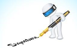 uomo 3d che fa impronta con la penna Immagine Stock Libera da Diritti