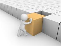 uomo 3d che spinge cubo 3d Fotografie Stock Libere da Diritti