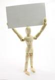 uomo 3D che tiene biglietto da visita in bianco sopra la testa. Immagini Stock