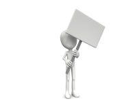 uomo 3D che tiene una scheda in bianco Fotografia Stock Libera da Diritti