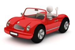 uomo 3d che va con l'automobile rossa Fotografie Stock Libere da Diritti