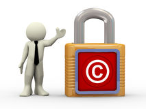 uomo 3d con il lucchetto di simbolo del copyright Fotografia Stock Libera da Diritti