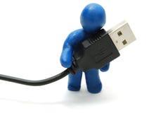 uomo 3D con il USB Immagine Stock