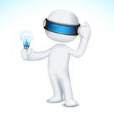 uomo 3d con la lampadina Fotografie Stock Libere da Diritti