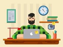 Uomo ad uno scrittorio davanti al computer portatile royalty illustrazione gratis