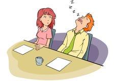Uomo addormentato della riunione di consiglio Fotografia Stock