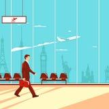 Uomo in aeroporto royalty illustrazione gratis