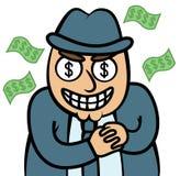 Uomo affamato dei soldi diabolici in vestito Immagini Stock Libere da Diritti