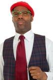 Uomo africano del ritratto su priorità bassa bianca Fotografie Stock Libere da Diritti