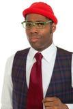Uomo africano del ritratto su priorità bassa bianca Immagine Stock Libera da Diritti
