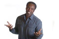 Uomo afroamericano con a braccia aperte Fotografia Stock