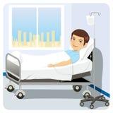 Uomo al letto di ospedale Fotografie Stock Libere da Diritti