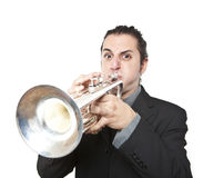 Uomo alla moda di jazz che gioca la tromba Immagine Stock Libera da Diritti