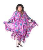 Uomo allegro, drag queen, in un vestito femminile Immagine Stock