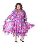 Uomo allegro, drag queen, in un vestito femminile Immagini Stock