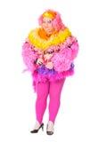 Uomo allegro, drag queen, in un vestito femminile Fotografie Stock Libere da Diritti