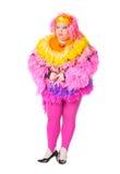 Uomo allegro, drag queen, in un vestito femminile Immagine Stock Libera da Diritti
